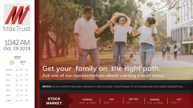 Bank template with date, time and weather on the left side. The main image is a couple with their kid between them and text over the image