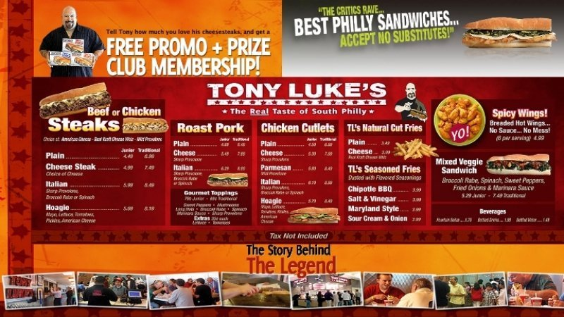 Horizonal Menu Board with Promotions
