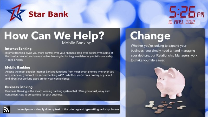 Bank logo over a background image with two text boxes